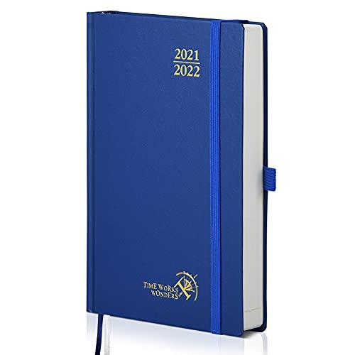 Agenda 2021 2022 Día por Página de POPRUN - Planificador Diario A5 con Intervalo Horario Agosto 2021 a Julio 2022 - Tapa Dura, Cierre Elástico y Bolsillo - 21,5 x 14,5 cm,...