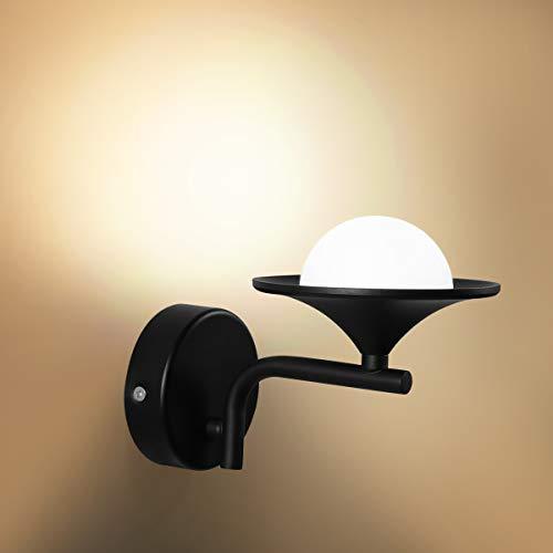 HAWEE Creativo Moderno LED Lámpara de Pared Interior Apliques de Pared LED Luz de Pared Minimalista Decoración de Hierro Forjado para Dormitorio, Sala, Pasillo, Escaleras, Café, 3000K Negro