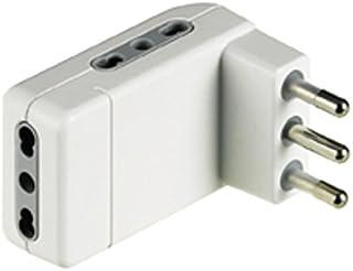 BTicino S3606DE Adattatore salvaspazio Corner-3 Prese bipasso 10/16A e Spina 16A-Colore Bianco