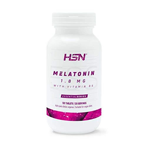 Melatonina 1,8mg de HSN | Para Dormir Mejor + Mejor Descanso por la noche + Combate los trastornos del Sueño, Estrés y Fatiga, Jet Lag | Vegano, Sin Gluten, Sin Lactosa, 120 tabletas