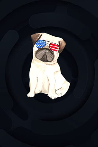 Pug with American Flag Sunglasses / Cute Dog Love USA Design 6x9 inches / Notebook College Ruled