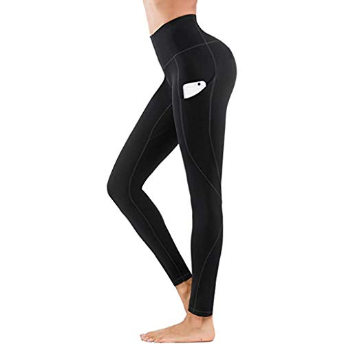 Youmymine Women High Waist Yoga Sport Pants Workout Skinny Leggings Fitness Athletic Tight Pants Solid Pocket (M, Black)