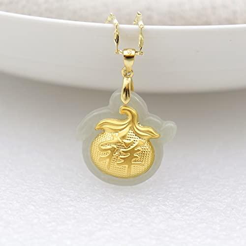 YUNHE Hermoso Collar de Jade Hetian Natural para Hombres y Mujeres con Incrustaciones de Oro de 24 K, Bolsa de Dinero China Xiang, Colgante de la Suerte + Cadena, joyería Fina