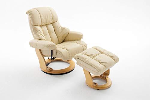 lifestyle4living Relaxsessel in Creme, Echtleder, Gestell 360° drehbar Natur Braun inkl. gepolstertem Hocker | Perfekter Sessel mit Relaxfunktion für entspannte Abende