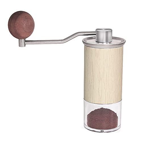 Andylies Molinillo de Café Manual Molinillo de Grano Manual con Ajuste Manual Ajustable Molinillo de Fresa de Grano Entero de Acero Inoxidable, B