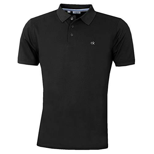 Calvin Klein Campus Herren Polo-Shirt mit 3 Knöpfen, leicht, gerippter Kragen Gr. M, Schwarz
