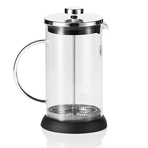 Coffee Fox French Press aus Glas Kaffeezubereiter Pressfilterkanne 1 Liter Kaffeebereiter Spülmaschinenfest