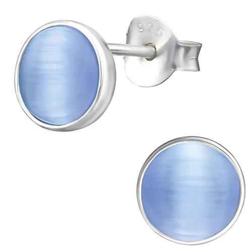 EYS JEWELRY Pendientes para señora círculo redondo 7 x 7 mm Ojo de gato plata de ley 925 azul con la caja Pendientes mujer