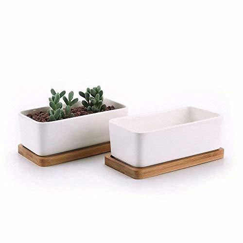 Sunruners Succulente Pots avec plateau en bambou – Cactus conteneurs de pots pour plantes grasses Planter Mini Succulente Pots rectangulaire en céramique Pots