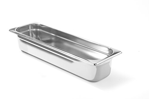 HENDI Gastronormbehälter, Temperaturbeständig von -40° bis 300°C, Heissluftöfen-Kühl- und Tiefkühlschränken-Chafing Dishes-Bain Marie, Stapelbar, 1,2L, GN 2/4, 530x162x(H)20mm, Edelstahl 18/10