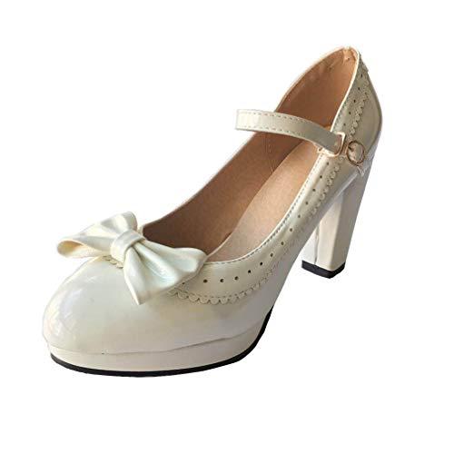 HILIB Damen High Heels Lolita Schuhe Süße Schleife Mary Jane Schuhe, Weiá (weiß), 37 EU