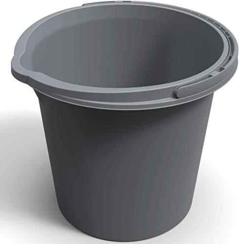 Rotho Vario Eimer 10l mit Henkel und Ausguss, Kunststoff (PP) BPA-frei, anthrazit, 10l (29,2 x 29,2 x 25,9 cm)