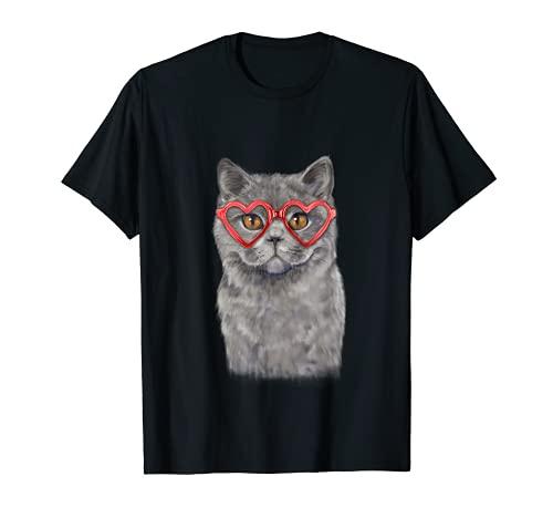 Divertido gato corazón gafas día de San Valentín británico pelo corto Camiseta
