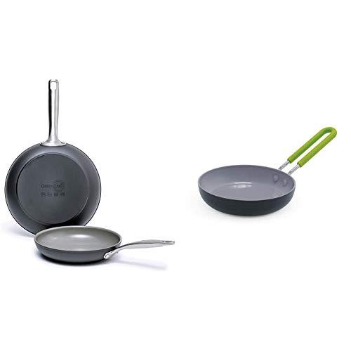 "GreenPan Chatham Ceramic Non-Stick Open Frypan Set, 8"" and 10"", Grey - & Mini Healthy Ceramic Nonstick, Round Egg Pan, 5"", Gray"