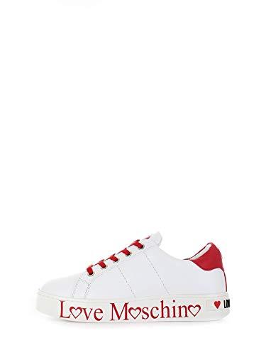 Love Moschino Damen Scarpad.cassetta35 VIT.Bianco+Rosso Gymnastikschuhe, Mehrfarbig (White Calf Red 10c), 37 EU
