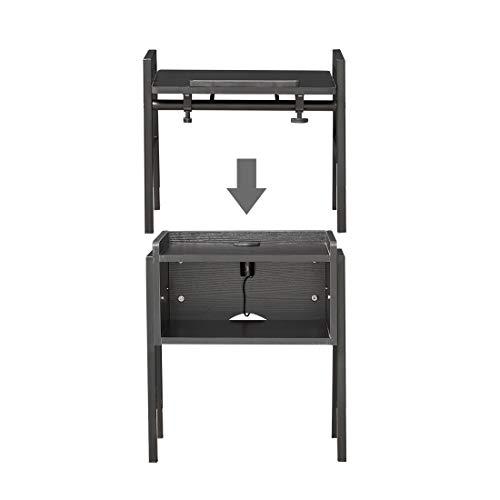 Emall Life Multifunctioneel nachtkastje, 2-in-1-bijzettafel met open plank en in hoek verstelbare laptoptafel met 3 USB-poorten voor bank en bed