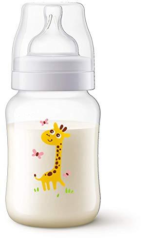 Mamadeira Anticólica (Clássica) Decorada 260 ml, Philips Avent, Transparente com Desenho de Girafa