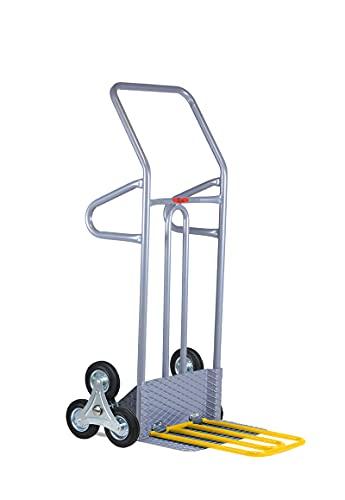 Carrello Saliscale Professionale in Acciaio con Pedana Ribaltabile Maggiorata Portata 280kg Svelt