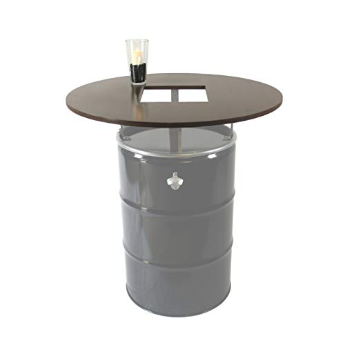 Rogge´s RelaxGrill Runde Tischplatte mit Ausschnitt, d = 100cm, 21mm Multiplex, geölt, für 210L Ölfass als Stehtisch, Öltonne, Tonne, Fass, Feuertonne, Stahlfass