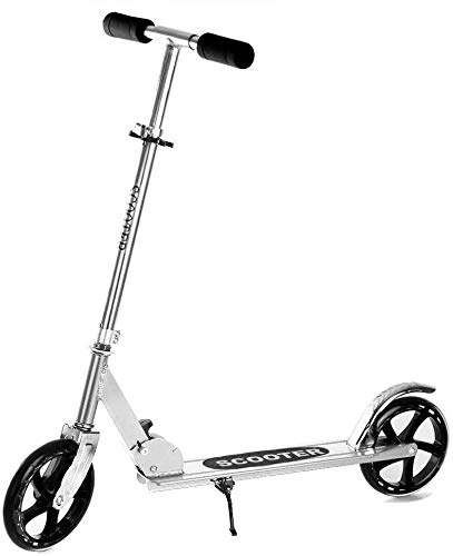 Kick Scooter with 200mm Large Wheels, Folding Scooters for Kids 10 Years and up/Adults + Large Tires + Adjustable Height + Shoulder Strap, Portable Scooter Best Gift for Teens (Silver Scooters)