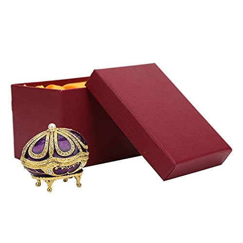 Garosa Huevos de Esmalte, Caja de joyería de Huevo Faberge púrpura de Estilo Vintage con decoración de Diamantes de imitación para colección de Pulsera de Collar de joyería