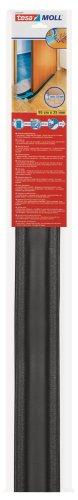 tesamoll Zugluftstopper für glatte Böden in Grau / Zuschneidbare Türbodendichtung für Schutz vor Zug und Lärm / 95cm x 25cm