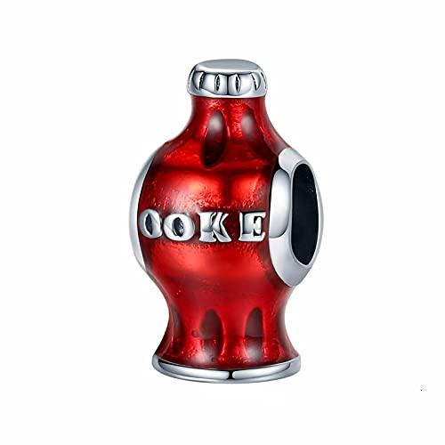 YYFHHK Charm Beber Botella Encanto 925 Cuentas Rojas De Plata Esterlina Adecuado para Damas Pulsera Collar Colgante Joyería Pequeña Fabricación De Joyas De Bricolaje