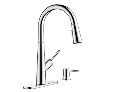 hansgrohe 1-Handle 17-inch Tall Kitchen Faucet with Pull Down Sprayer with QuickClean in Chrome, 04749005