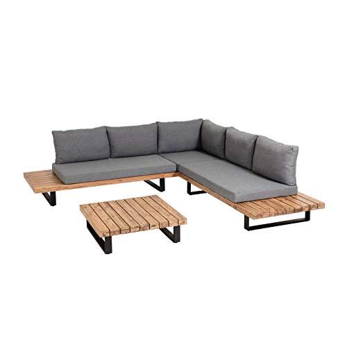 Kave Home - Set de sofá Zalika con sofá rinconero de 5 plazas y Mesa de Centro de Madera de Acacia para Exterior