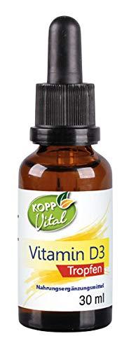 Kopp Vital Vitamin D3 Tropfen - 30 ml | Das Sonnenvitamin D3 in Tropfenform | Spitzen-Dosierung | 1 Tropfen enthält 25 µg Vitamin D3 (1000 IE)