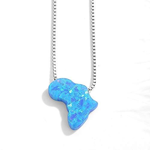 DYFUHO Ojo Azul Opal Africa Mapa, 925 Plata Esterlina Colgante Collar, Collier Party Cadenas Mujeres Collar Niñas Regalo Femenino(40 + 5 Cm / 16 + 2 Pulgadas)