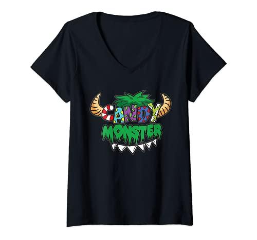 Mujer Candy Monster - Disfraz infantil San Martn Halloween Camiseta Cuello V