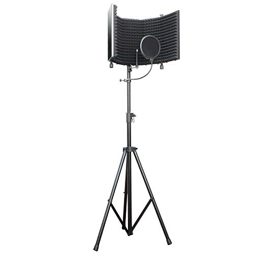 AxcessAbles SF-101KIT Recording Studio Microphone Isolation Shield with Tripod Stand - 4ft to 6ft 6