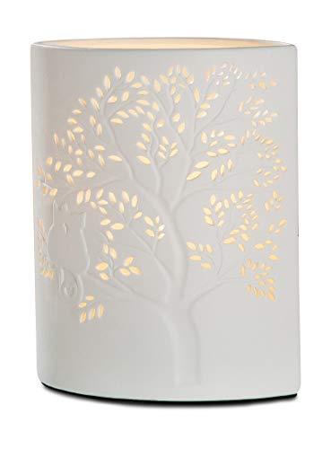 GILDE Lampe Katze auf Baum - aus Porzellan mit Lochmuster in weiß H 20 cm