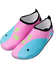 Bestgift Men's Women's Quick-Dry Non-slip Swimming Beach Shoes Pink Whale 36-37