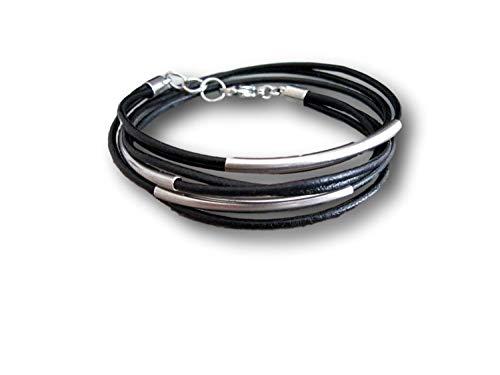 Handmade, Edelstahl- Echt Leder Wickel Armband Schwarz Uni