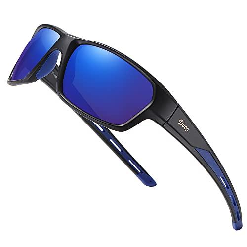 DUCO Polarized Sports Running Baseball Cycling TR90 Superlight Frame Sunglasses for Men 6201 (Black Frame Blue Lens)