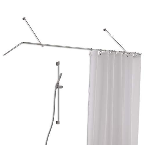 PHOS Design, DSU1700-700W, Duschstange U-Form 170 x 70 cm, Wandträger mit Vorbeiziehfunktion, Edelstahl matt geschliffen, Brausestange Vorhang, Winkelstange, Duschvorhangschiene, Duschschiene