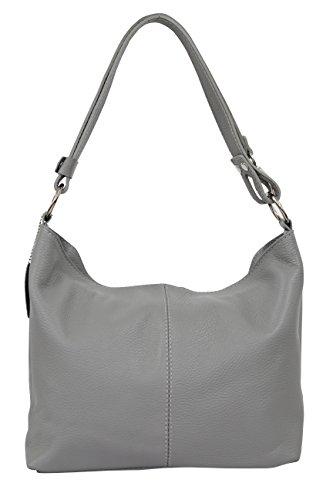 AMBRA Moda Hobo bag GL005 - Bolso de mujer de cuero, bolso de mano y bandolera, color Gris, talla Medium