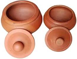Moments Crafts Terracotta Clay Curd Pot Organic Clay Dahi Handi Dal Handi Bowl with Lid Yogurt Curd Setter Pot (2 Piece...