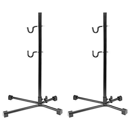 2x WELLGRO® Fahrradständer - Stahl, schwarz, sicherer Stand, Haken mit Kunststoffummantelung