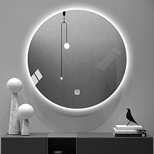 Espejo de Baño Iluminado con Luz LED, con Sensor de Control Táctil de Color Regulable, Espejo de Maquillaje Redondo de Pared para Hotel/Dormitorio/Salón