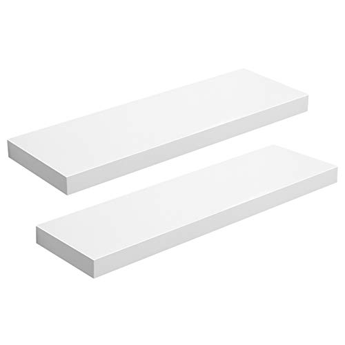 VASAGLE Floating Shelf Set of 2, Wall Shelf 23.6 Inch, Hanging Shelves Wall Mounted, for Photos, Decorations, MDF, White ULWS26WT-2