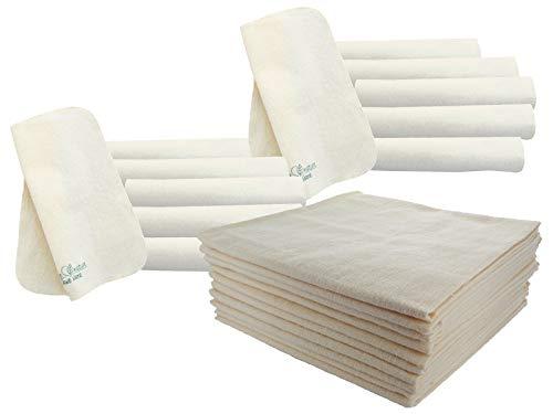 Bio Moltontücher 10er-Set mit Waschlappen 100% Bio-Baumwolle (kbA) GOTS zertifiziert, Natur, 40 x 40 cm
