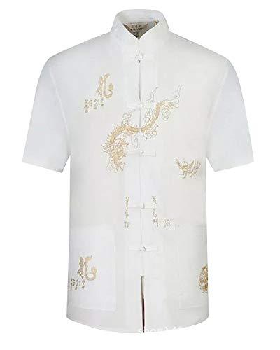 Hombres Chino Tradicional Camisa de Manga Corta + Pantalones Tai Chi Uniforme Traje Tang con Dragón Bordado Blanco 39