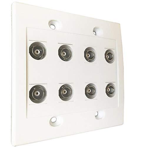 diyTech BNC Wall Plate, 8 Port, Female to Female connectors, HD-SDI, CCTV Security Camera - White