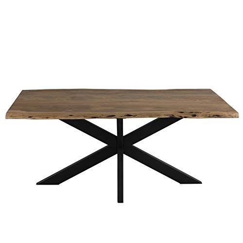 Tousmesmeubles Table de Repas Métal/Bois Brut - Sarah - L 180 x l 90 x H 77 - Neuf