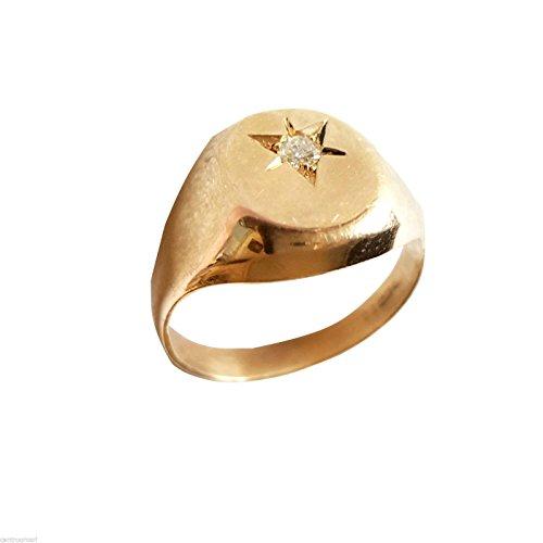 Brillant Anillo Oro Anillo Hombre 18kt en anillo de diamante con diamante Brillant 0,10ct