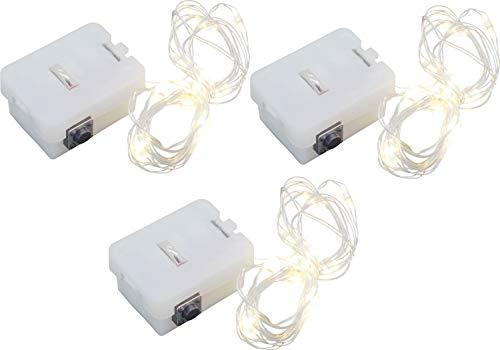 オーディオファン イルミネーションライト LED電飾 約1m (10LED) 3モード切替 電池式(LR44×3) 電球色 ×3点