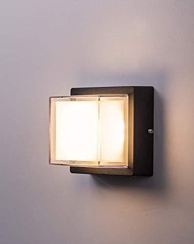 Zeyun Led-wandlamp, 6 W, voor binnen, buiten, van aluminium, vierkant, waterdicht, zwart, voor cafeteria woonkamer, eetkamer, keuken, slaapkamer, hal, trappen, 3000 K, warmwit